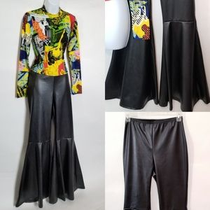 Pants - Faux Leather Bell Bottom Pants